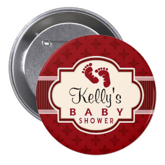 Maroon and Red Retro Baby Shower Pinback Buttons