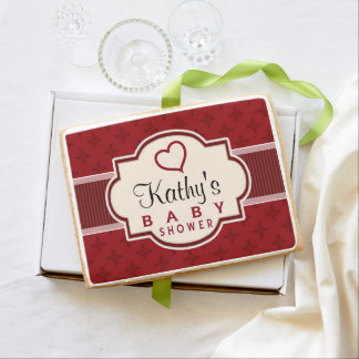 Maroon and Red Retro Bridal Shower Jumbo Shortbread Cookie