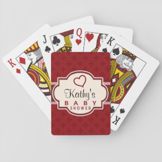 Maroon and Red Retro Bridal Shower Poker Deck