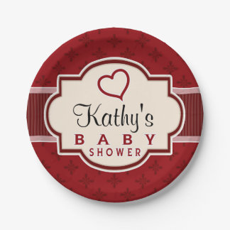 Maroon and Red Retro Bridal Shower 7 Inch Paper Plate
