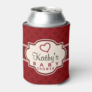 Maroon and Red Retro Bridal Shower Can Cooler