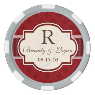 Maroon and Red Retro Wedding Set Of Poker Chips