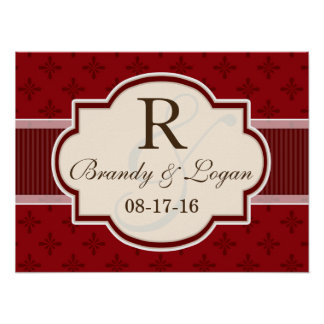 Maroon and Red Retro Wedding Posters