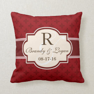 Maroon and Red Retro Wedding Throw Pillow
