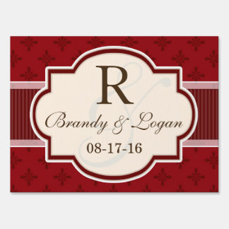 Maroon and Red Retro Wedding Lawn Sign