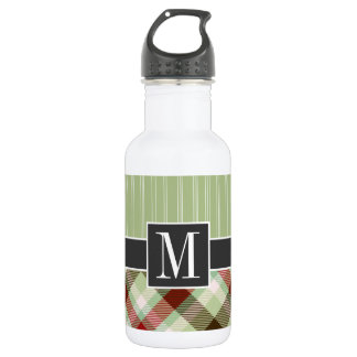 Maroon and Sage Green Plaid 18oz Water Bottle