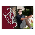 Maroon and Silver 2015 Graduation Thank You Photo Stationery Note Card