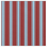 [ Thumbnail: Maroon and Sky Blue Stripes Fabric ]