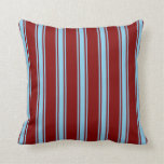 [ Thumbnail: Maroon and Sky Blue Stripes Throw Pillow ]
