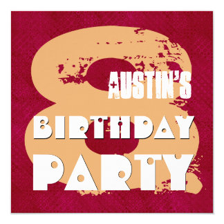 MAROON and TAN 8th Birthday Party 8 Year Old V11E1 Card