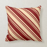 [ Thumbnail: Maroon and Tan Pattern of Stripes Throw Pillow ]