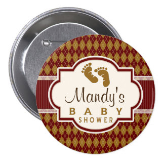 Maroon and Tan Retro Argyle Baby Shower Buttons