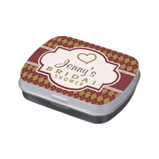 Maroon and Tan Retro Argyle Bridal Shower Jelly Belly Tin
