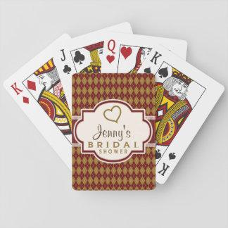Maroon and Tan Retro Argyle Bridal Shower Card Decks