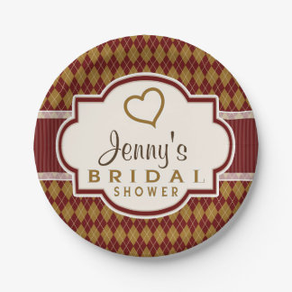 Maroon and Tan Retro Argyle Bridal Shower 7 Inch Paper Plate
