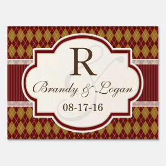 Maroon and Tan Retro Argyle Wedding Lawn Sign