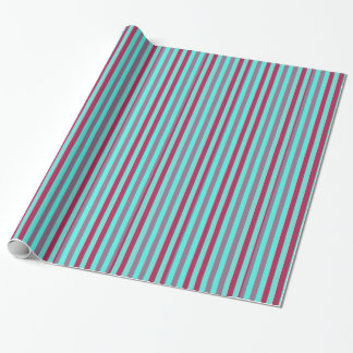 Maroon And Teal Horizontal Stripes Gift Wrapping Paper