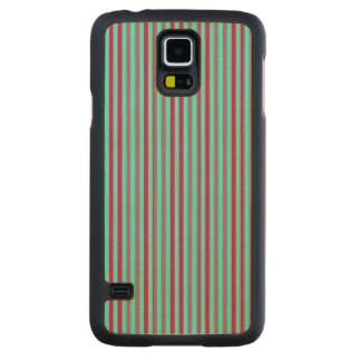 Maroon And Teal Striped Pattern Carved® Maple Galaxy S5 Case