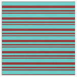 [ Thumbnail: Maroon and Turquoise Stripes/Lines Pattern Fabric ]