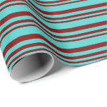 [ Thumbnail: Maroon and Turquoise Stripes/Lines Pattern Wrapping Paper ]