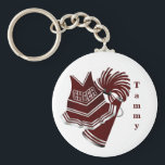 "Maroon and White Cheerleader KeyChain<br><div class=""desc"">Great looking cheerleader key chain,  with pretty graphics of a cheerleader uniform,  pom poms,  and matching maroon megaphone. Maroon text,  running vertical on the right side,   is customizable to read what ever you want.  Makes great little gifts for any cheerleader from Pee Wee to Pro.</div>"