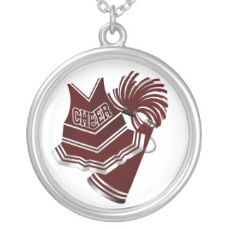 Maroon and White Cheerleader Necklace