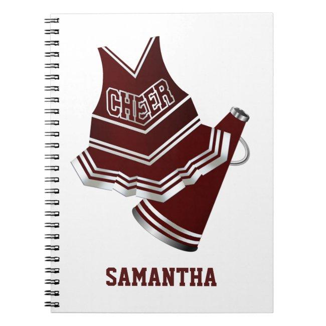 Maroon and White Cheerleader Notebook