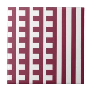 Maroon and White Combs Tooth Ceramic Tile