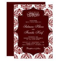 Maroon and White Damask Islamic Muslim Wedding Invitation