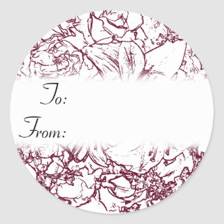 Maroon and White Floral Christmas Gift Tag Sticker