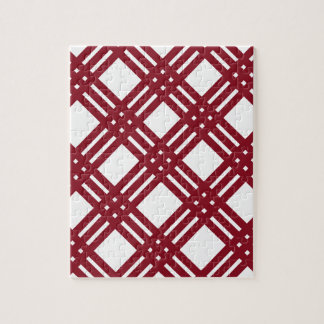 Maroon and White Gingham Jigsaw Puzzle