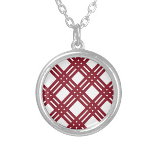 Maroon and White Gingham Silver Plated Necklace