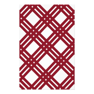Maroon and White Gingham Stationery