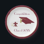 "Maroon and White Graduation Custom Paper Plates<br><div class=""desc"">Stylish graduation party paper plates,  done in white,  with a maroon and gold band around the outer edge.  Graphics of a mortarboard cap and diploma,  decorate the middle of the plate,  with custom maroon text ready to personalize.  Matching graduation party paper napkins are available.</div>"