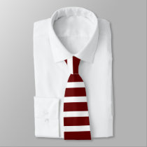 Maroon and White Horizontally-Striped Tie