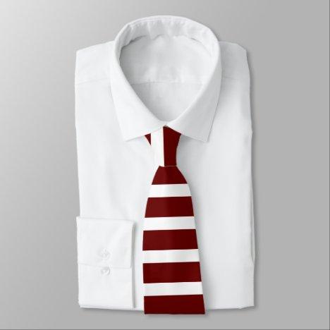 Maroon and White Horizontally-Striped Tie