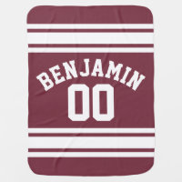 Maroon and White Jersey Stripes Custom Name Number Baby Blanket