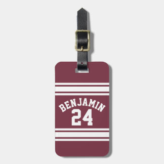 Maroon and White Jersey Stripes Custom Name Number Bag Tag