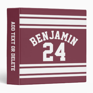 Maroon and White Jersey Stripes Custom Name Number Binder
