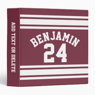 Maroon and White Jersey Stripes Custom Name Number Vinyl Binder