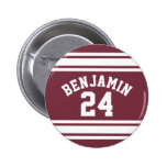 Maroon and White Jersey Stripes Custom Name Number Pin