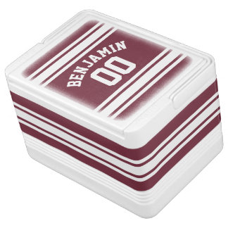 Maroon and White Jersey Stripes Custom Name Number Drink Cooler