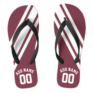 Maroon and White Jersey Stripes Custom Name Number Flip Flops
