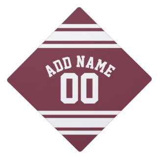 Maroon and White Jersey Stripes Custom Name Number Graduation Cap Topper