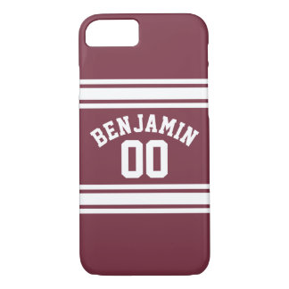 Maroon and White Jersey Stripes Custom Name Number iPhone 8/7 Case