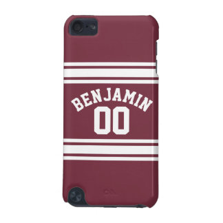 Maroon and White Jersey Stripes Custom Name Number iPod Touch 5G Cover