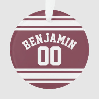 Maroon and White Jersey Stripes Custom Name Number Ornament