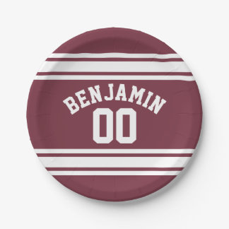 Maroon and White Jersey Stripes Custom Name Number Paper Plate
