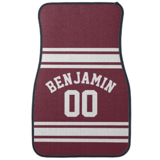 Maroon and White Jersey Stripes Custom Name Number Floor Mat