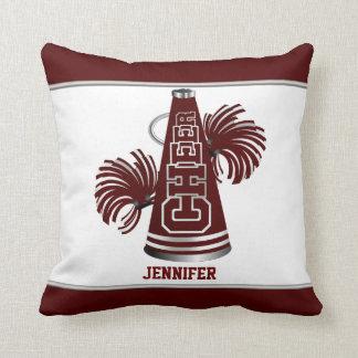 Maroon and White Megaphone Cheerleader Pillow